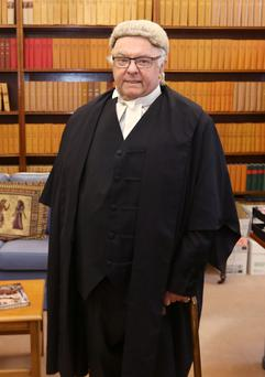 Judge Paul Carney before his final sitting as he retires from the High Court. Photo: Damien Eagers