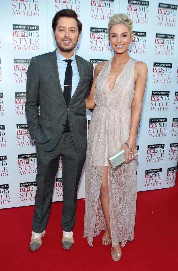 Brian Dowling and Pippa O Connor on the Red Carpet at The Peter Mark VIP Style Awards 2015 at The Marker Hotel in Dublin last night. Photo: Brian McEvoy