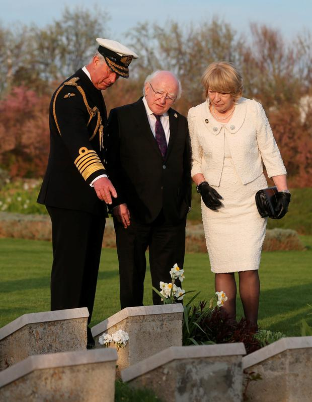 The Prince of Wales, President Michael D Higgins and his wife Sabina at the Gallipoli commemorations this weekend