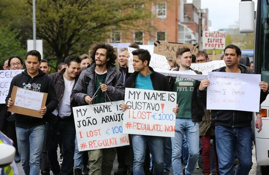 International English Language students pictured during their protest march over the closure of English language schools in the last year