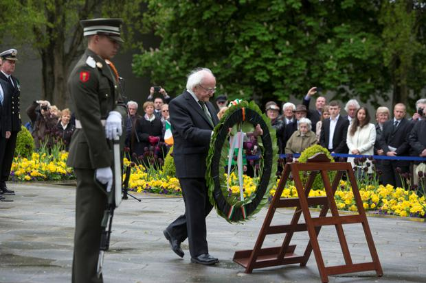 President MIchael D.Higgins lays a wreath at the 1916 Leaders Commemoration Ceremony at Arbour Hill in 2015
