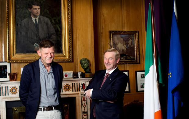 Straight From the heart: Brendan O'Connor and Enda Kenny share a laugh during their meeting in the Taoiseach's office. Photo by David Conachy.