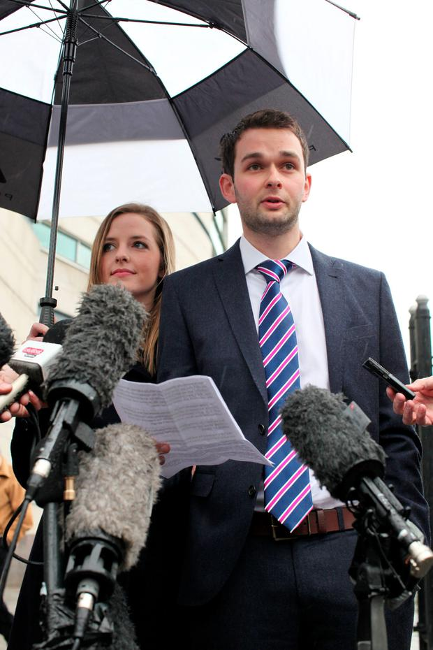 Daniel and Amy McArthur of Ashers Baking Company, outside Belfast County Court yesterday. Photo: PA