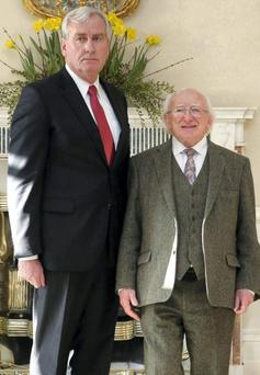 HERO: Canadian ambassador to Ireland Kevin Vickers with Irish President Michael D Higgins