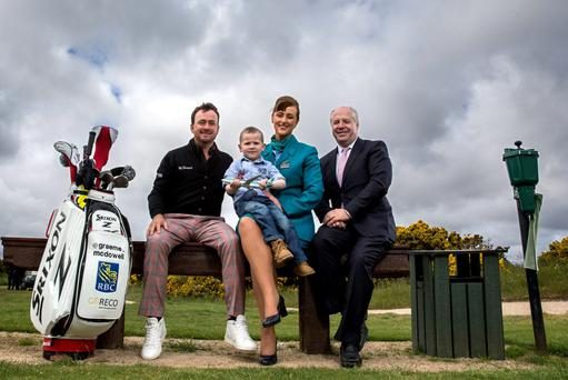 Graeme McDowell with PJ Kearney (4) from Donegal, Aer Lingus's Alison Raymond and Joe Quinsey CEO of Children's Medical & Research Foundation. Photo: INPHO/Billy Stickland