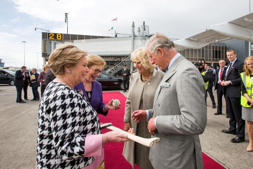 Prince Charles and the Duchess of Cornwall Camilla with Justice Minister Frances Fitzgerald and Education Minister Jan O'Sullivan at Shannon Airport during their historic two-day visit to Ireland last week