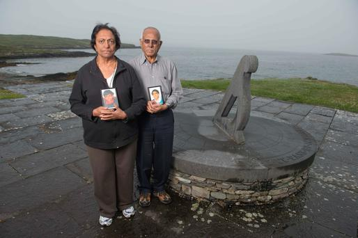 The parents of Sanjay and Deepak Turlapati who were killed in the Air India explosion, at the Air India memorial, Ahakista, west Cork. Photo: Michael Mac Sweeney