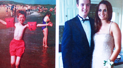 Eoghan as a young boy and on his debs night with his girlfriend Sarah
