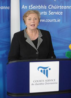 Justice Minister Frances Fitzgerald speaking at the launch of the Courts Service Annual report yesterday.