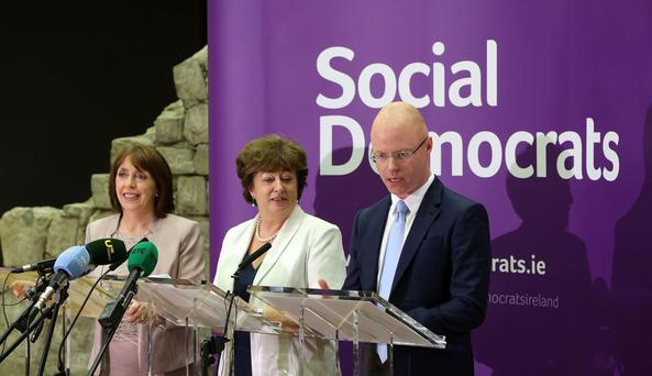 Roisin Shortall, Catherine Murphy and Stephen Donnelly pictured at the launch of The Social Democrats party