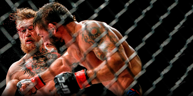 McGregor in his victorious fight against Chad Mendes in Las Vegas