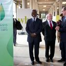 President Michael D Higgins at a meeting of the Conseil Economique, Social et Environmental with Kofi Annan and Prince Albert of Monaco. Photo: Shane O'Neill