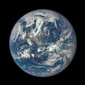 Earth photographed from one million kilometres away by a Nasa camera on the Deep Space Climate Observatory satellite