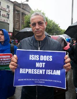 Broadcaster Baz Ashmawy during a Not in Our Name protest against Islamic State (IS) on O' Connell Street, Dublin.