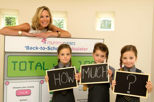 At the launch of the 'Back-to-School' Insights 2015 were Laura Haugh, Mum-in-Residence with MummyPages.ie, and triplets Olivia, Lauren & Cliona O'Flanagan (4) from Portlaoise