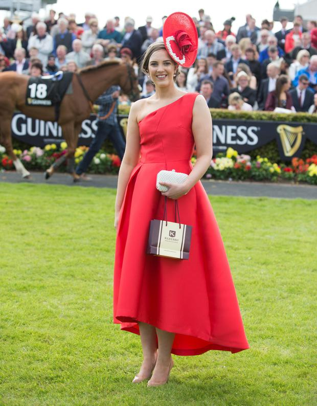 Alex Butler from Midleton, Co Cork, winner of the Kilkenny best dressed on Ladies Day at the Galway races 2015