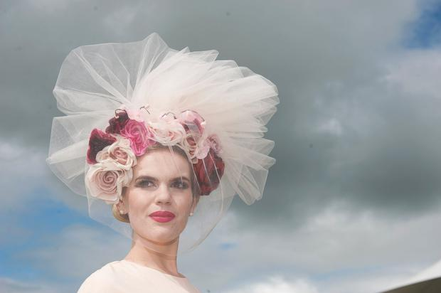 Danielle Gingell who lives in Claremorris, Co Mayo, was awarded the title of Kilkenny Best Hat in a fabulous veiled floral cream creation with tulle netting by American Milliner Arturo Rios creation