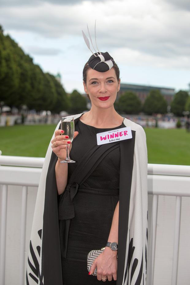 Laura Jayne Halton, from Kildare, winner of the best dressed lady at the Dublin Horse Show in the RDS