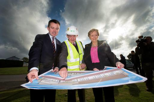 Plans: Then Minister for Children and Youth Affairs Frances Fitzgerald and then Minister of State Brian Hayes in 2013 being shown plans for the National Children Detention Facility in Oberstown by Leo Harmon of BAM builders in 2013.