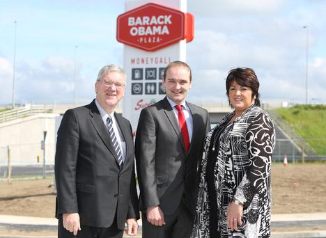 Pat McDonagh and wife Una with President Obama's relative Henry Healy at the plaza in Moneygall