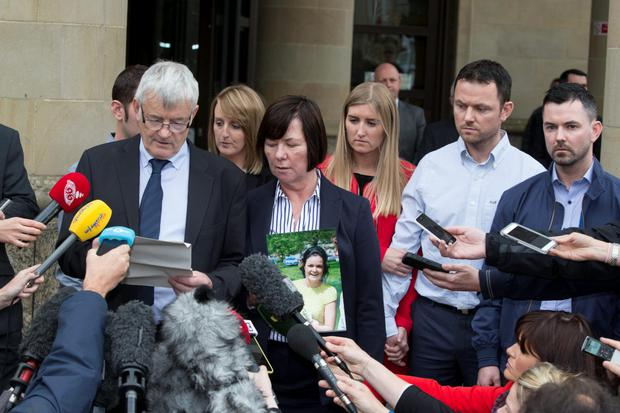 John Buckley gives a statement with his wife Marian at the High Court of Justiciary, Glasgow, after Alexander Pacteau admitted to murdering their daughter Karen