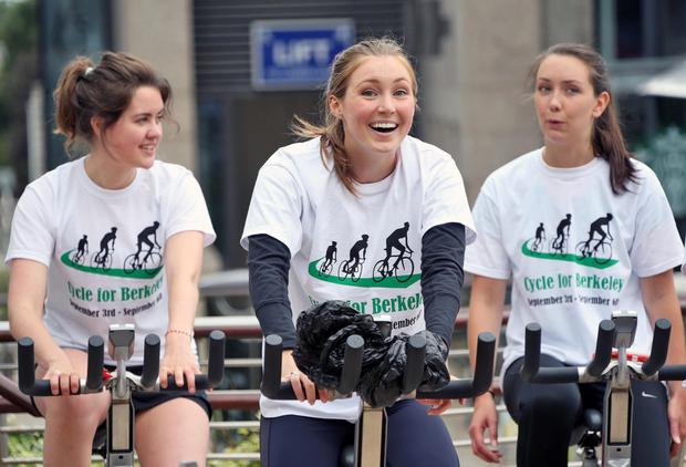 From left, Chloe Meehan, UCD, Jenna Spears, UCD and Chliodhna Sheehan UCD pictured taking part in the Cycle for Berkeley at the Dundrum Town Centre this afternoon