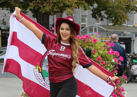 Former Miss Galway Laura Fox gears for the big match. Photo: Hany Marzouk