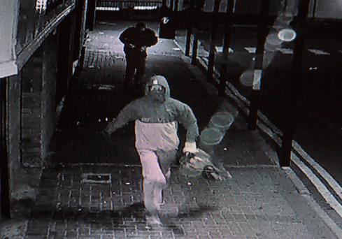 CCTV footage from the robbery at Apache Pizza in Old Bawn shopping centre, Talaght