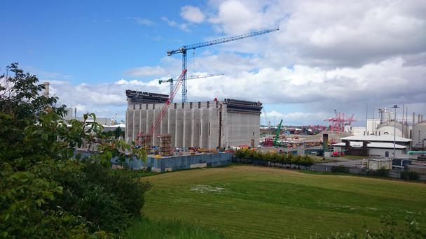 Poolbeg incinerator under construction