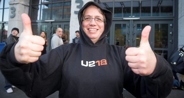 U2 fan Karine Maucourt from Artane, Dublin, queues outside the 3Arena for U2 tickets, which go on sale at 9am today Photo: Arthur Carron