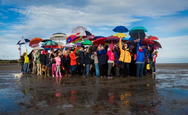 Hundreds turned out on Sandymount Strand in Dublin yesterday to send a strong message to the Government that people in Ireland want to extend the welcome to refugees. Photo: Fergal Phillips