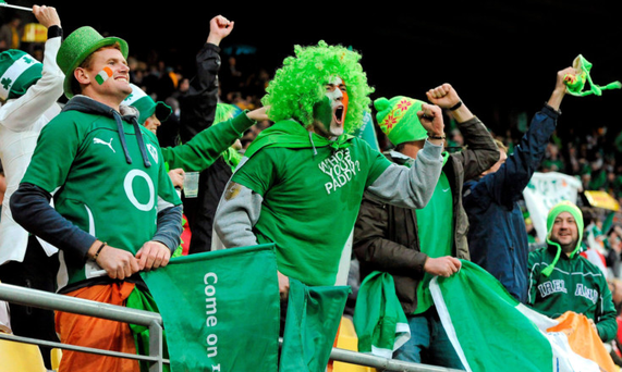 Ireland fans cheer on the team during the quarter-final clash with Wales at the 2011 World Cup in New Zealand. Photo: Brendan Moran