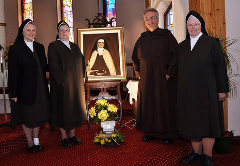 Sr Maria Therese, Sr Theresa Marie, Fr Mario Esposito and Sr Margaret Edward at the Shrine of Venerable Angeline Therese Photos: Liam McArdle