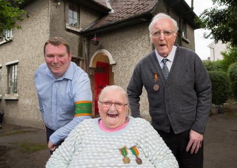 Family ties: Gareth Coghlan, a grandson of FX Coghlan, with his mother Éilís Coghlan and uncle Dermot. Photo: Fergal Philips