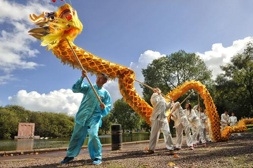 Martial arts master Sang Shouhui leads a Golden Dragon troupe during rehersals at The Lough, Cork city. Daragh Mc Sweeney/Provision