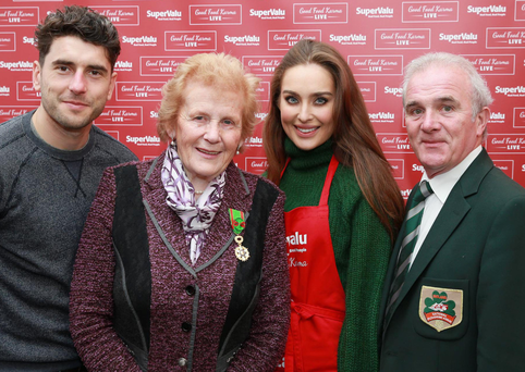 All-Ireland-winning GAA star and SuperValu ambassador Bernard Brogan, Anna May McHugh, managing director of the National Ploughing Association, and food blogger and model Roz Purcell Photo: Conor Healy Photography