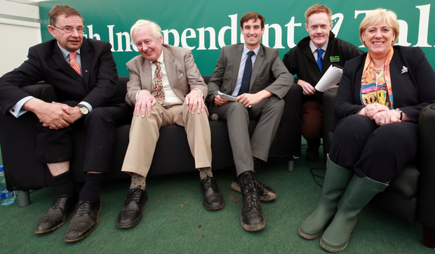 Irish Independent Editor Fionnán Sheahan with Arts Minister Heather Humphreys, Conor Mulvagh from UCD, former Irish Ambassador to Saudi Arabia Dr Niall Holohan and TD Éamon Ó Cuív after a panel discussion on 1916 on at the Irish Independent Talks Stage Photo: Frank McGrath