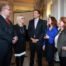 Health Minister Leo Varadkar and Junior Minister Kathleen Lynch with the three Masters of the Dublin maternity hospitals - Dr Sam Coulter-Smith, Dr Sharon Sheehan and Dr Rhona Mahony. Photo: Frank McGrath