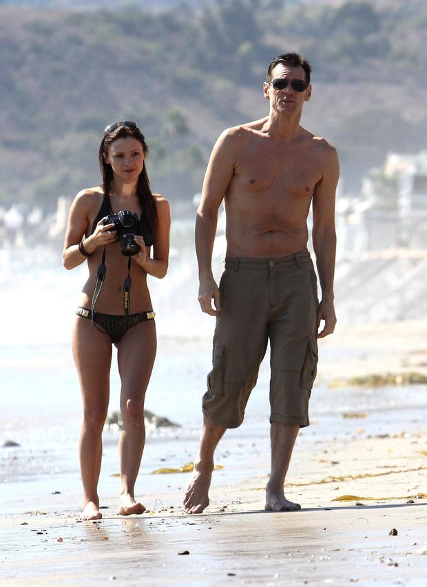 Hollywood actor Jim Carrey with his Irish girlfriend Cathriona White