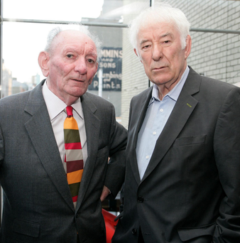 Literary giants: Brian Friel with Seamus Heaney, who died in August 2013, at the celebrations by the Abbey Theatre for Friel's 80th birthday Photo: Collins Photos