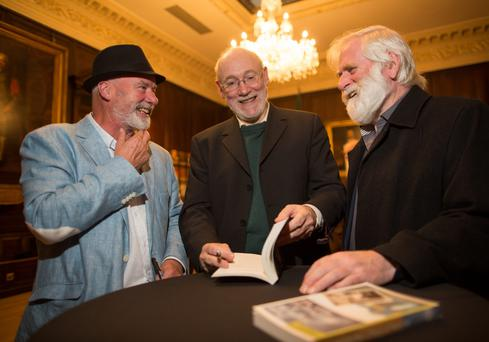 "BOOK LAUNCH: From left, Liam Collins, Dermot Bolger and John Sheahan of the Dubliners, at Dermot's book launch of his New and Selected Poems ""That Which is Suddenly Precious"" at The Mansion House"