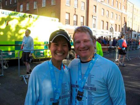 May Gin Liew and Alan McKenna after running the Dublin Marathon in 2010.