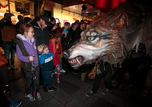 Member of Macnas Troop Danu the Wolf during a Macnas Twilight parade as part of Bram Stoker Weekend 2015 in Dublin's City Centre.