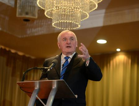 Former Taoiseach Bertie Ahern at the Brexit conference at the Canal Court Hotel in Newry yesterday. Photo: Colm Lenaghan/Pacemaker Press