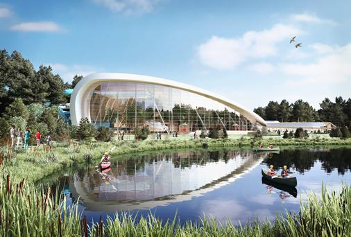 An artist's impression of the new Center Parcs complex in Longford
