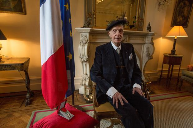 D-Day veteran John Leslie was awarded the Legion d'Honneur at a ceremony at the French Ambassador's residence in Dublin. Picture: Mark Condren