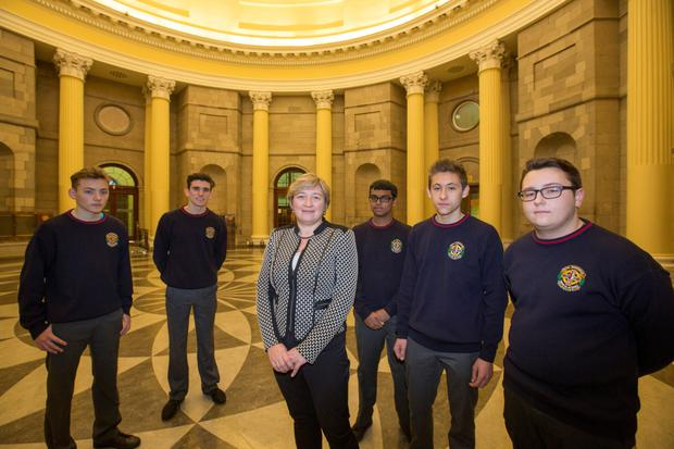 Call of the Bar: Sara Moorhead of The Bar of Ireland with CBS Brunswick Street, Dublin students (from left) Alan McKenna, Ryan Conroy, Chirayu Mohan, Pawel Rutkowski and David Somerville in the the Four Courts' round hall