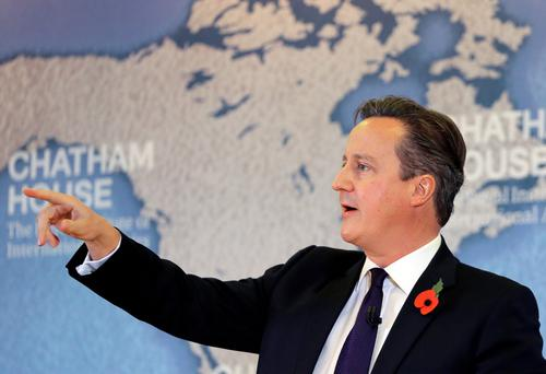 David Cameron delivers a speech on EU reform, at Chatham House in London