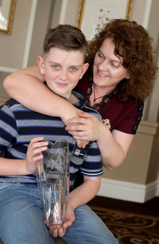 Donagh O'Sullivan (12) from Cork with his mother Julie O'Shea