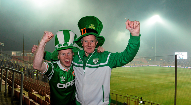 Supporters Alan and Jack Keane, from Roscommon town in the stadium before the match